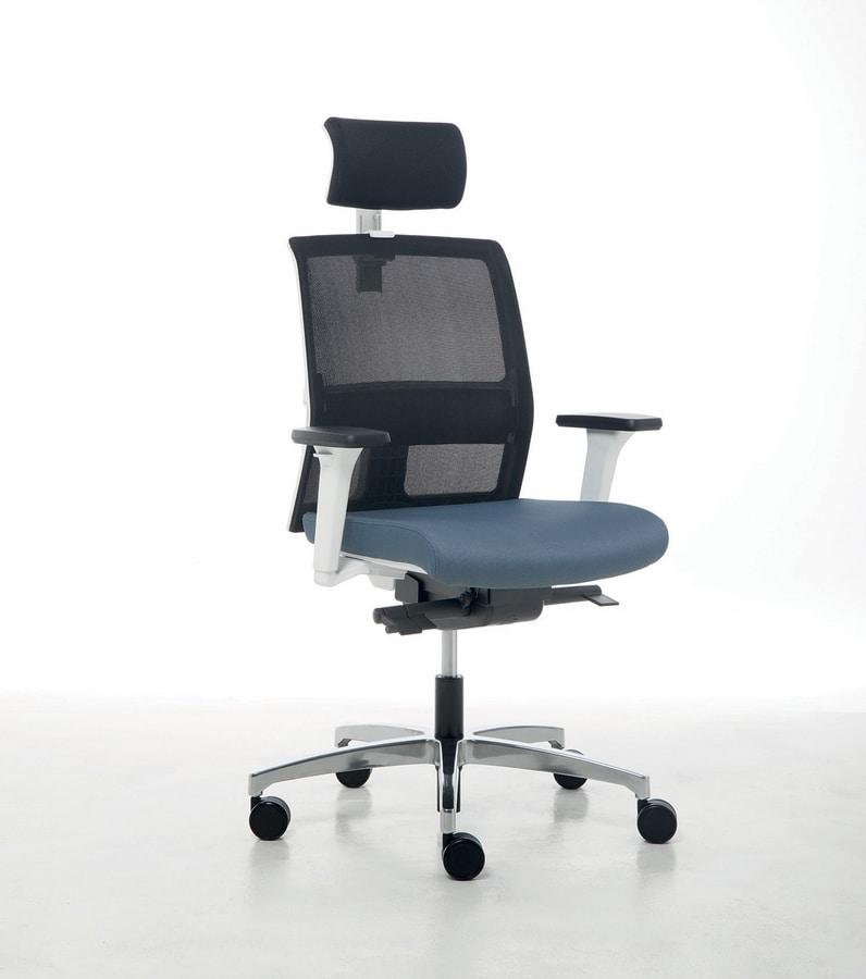 Omnia White 01 PT, Sedia ufficio con elegante struttura bianca