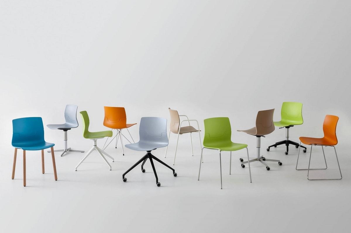 Sedia girevole su ruote a 4 razze seduta in polimero for Design ufficio srl