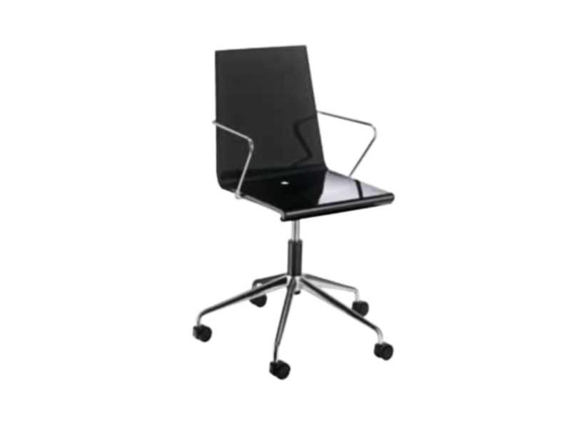 Sedia per ufficio con ruote scocca in plastica lucida idfdesign