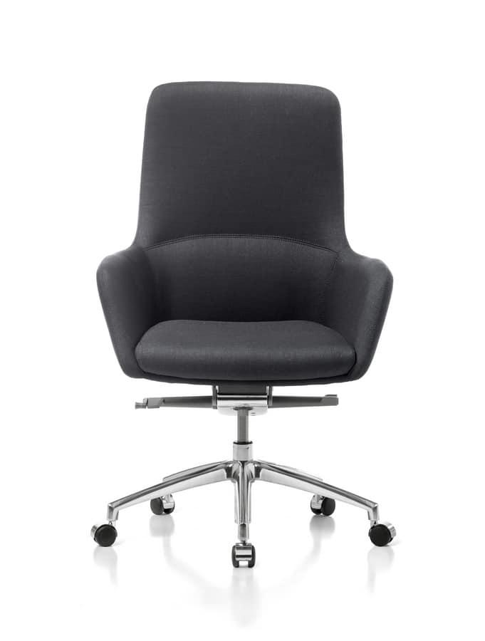 Sedia direzionale con ruote per ufficio moderno idfdesign for Negozi sedie ufficio