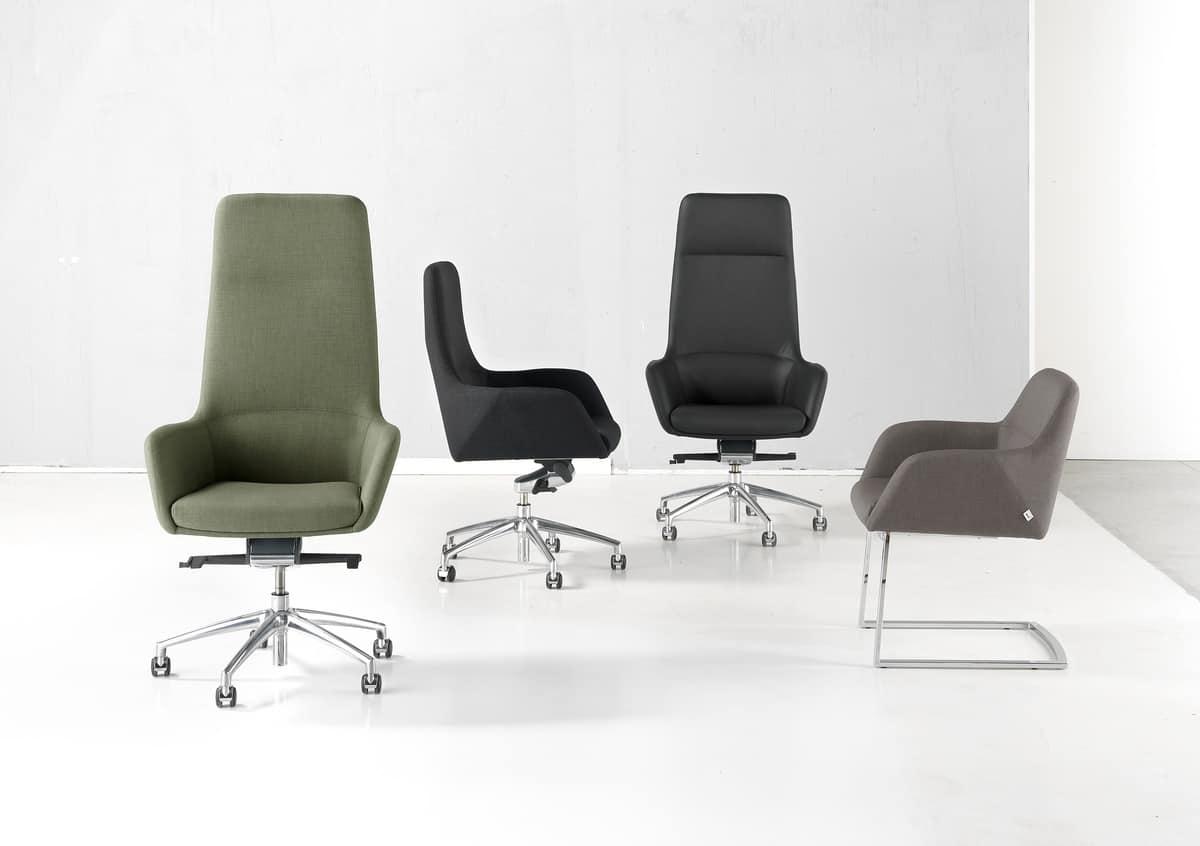 Sedia direzionale con ruote per ufficio moderno idfdesign for Sedie ufficio design outlet