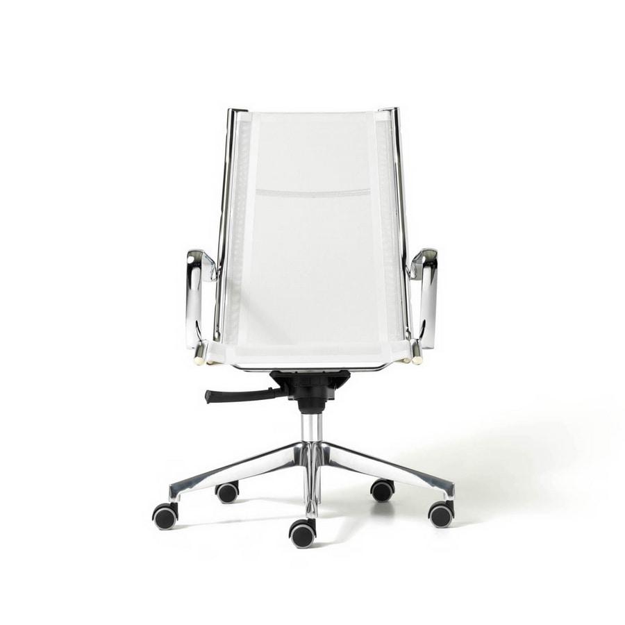 Sedia direzionale seduta in rete con braccioli e ruote for Fenice design sedie ufficio