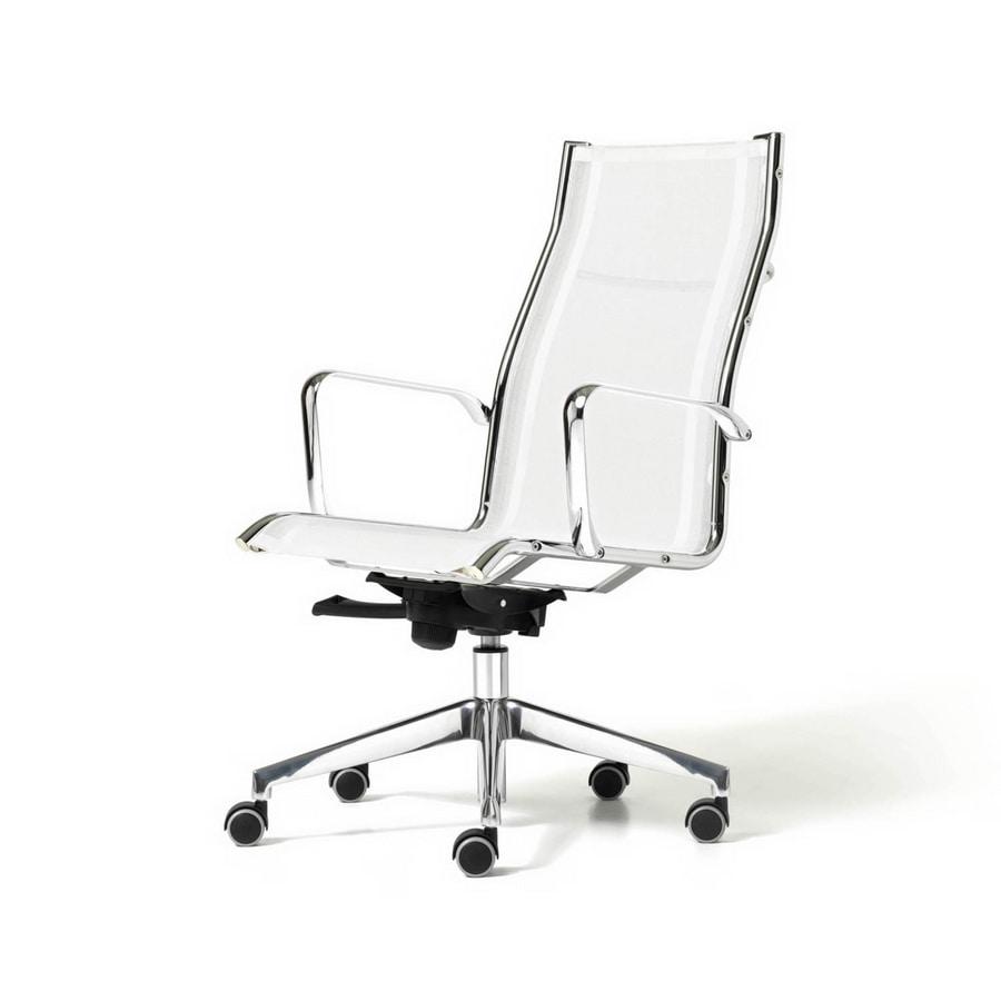 Sedia direzionale seduta in rete con braccioli e ruote for Amazon sedie ufficio