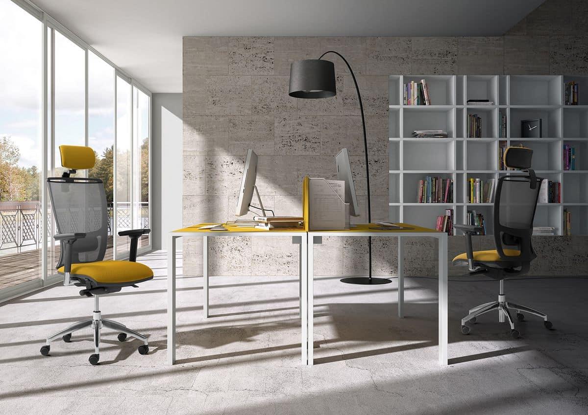 Sedia per ufficio con poggiatesta schienale a rete for Poltrona scrivania design