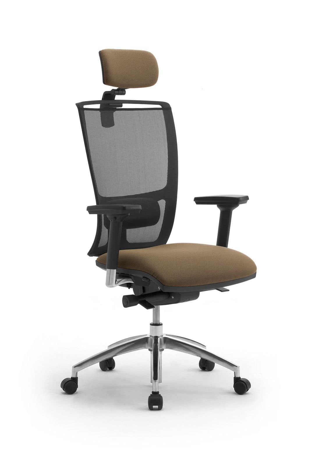 Sedia per ufficio con poggiatesta schienale a rete for Sedie ufficio