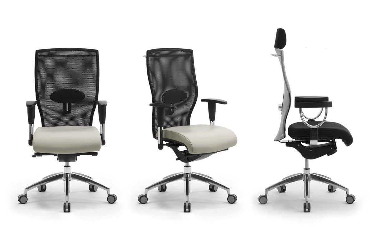 Poltrona presidenziale per ufficio con poggiatesta for Sedie direzionali per ufficio