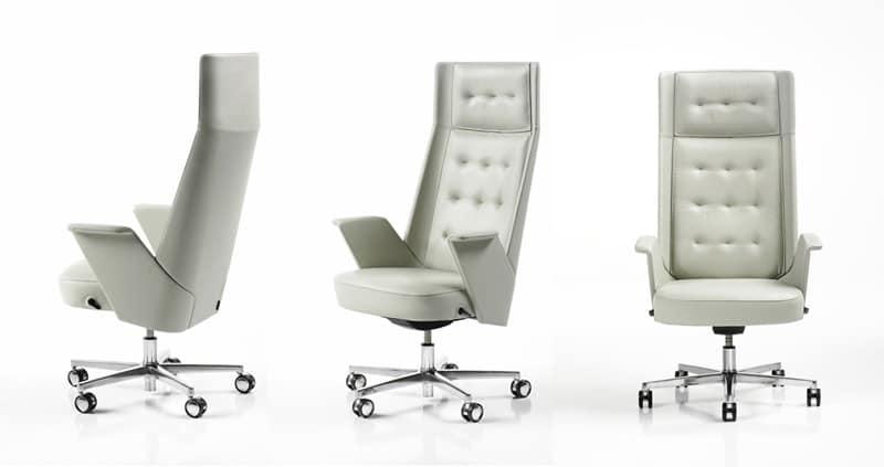Sedia direzionale con ruote struttura interna in for Sedie design ufficio