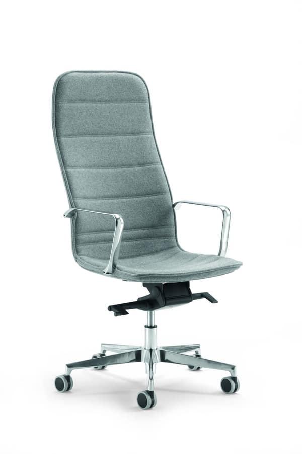 Sedia ergonomica per ufficio rivestita in tessuto idfdesign for Sedia wrap