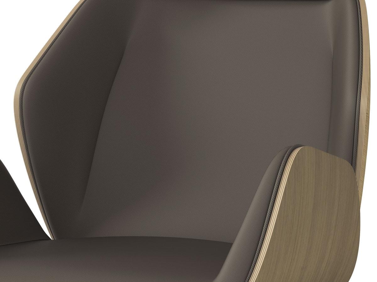 HAIKU WOOD, Poltrona girevole, finitura estetica scocca in rovere verniciato