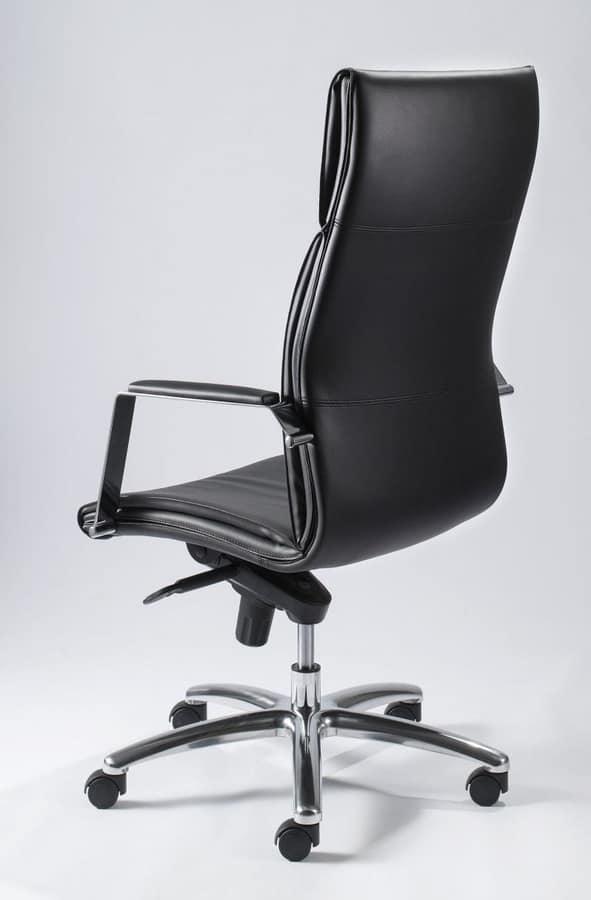 Eccezionale Sedia ufficio con schienale alto, rivestimento in pelle   IDFdesign WF23
