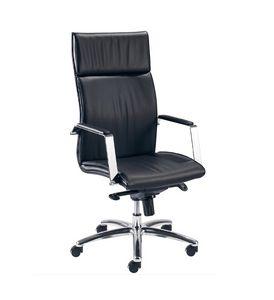 Iris H 507, Sedia ufficio con schienale alto, rivestimento in pelle