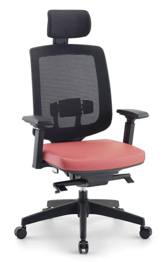 Sedia direzionale per ufficio con poggiatesta idfdesign for Fenice design sedie ufficio
