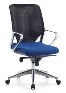 Karian AIR ALU 01, Sedia direzionale, schienale in rete, per ufficio