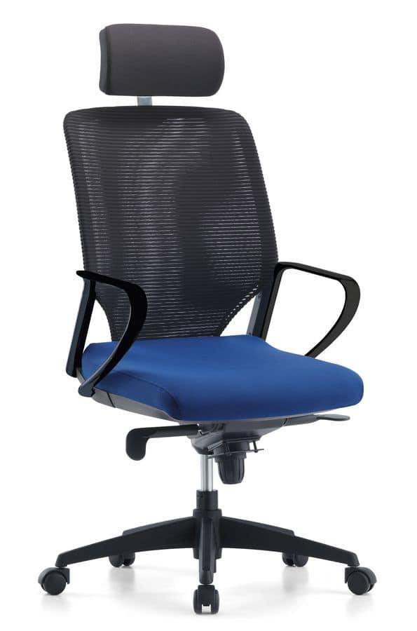 Sedia direzionale per ufficio schienale in rete for Sedie design ufficio