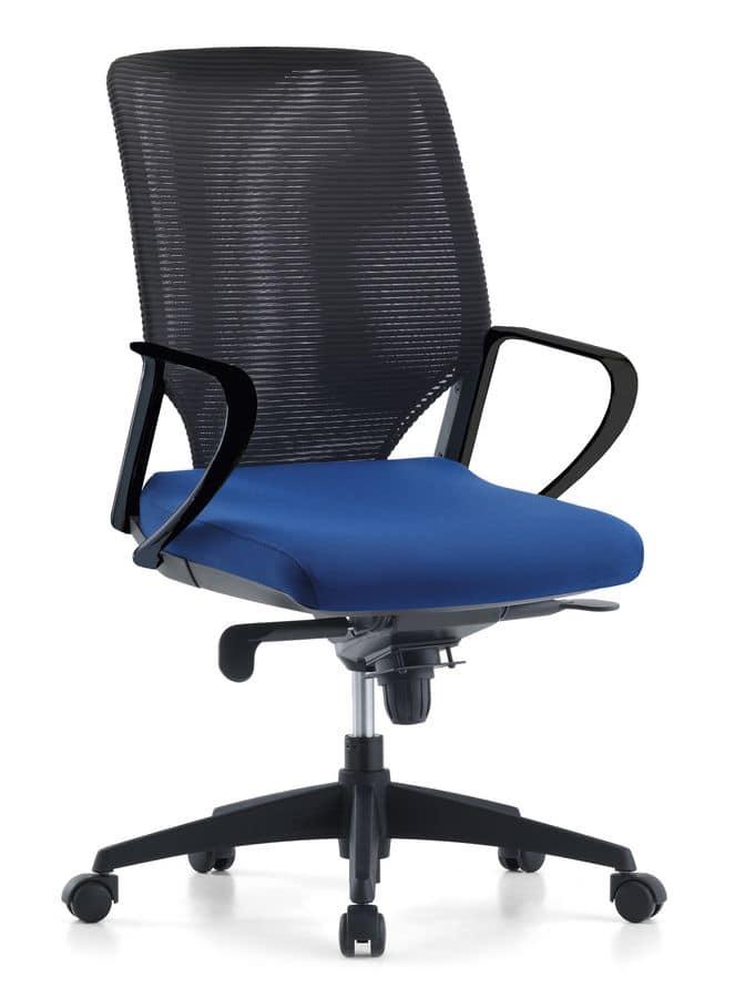 Sedia manageriale per ufficio schienale in rete idfdesign for Sedie direzionali per ufficio