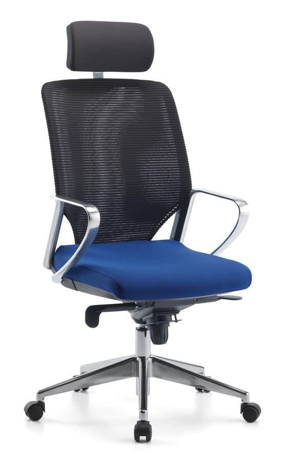 Sedia direzionale per ufficio con poggiatesta idfdesign for Design ufficio srl