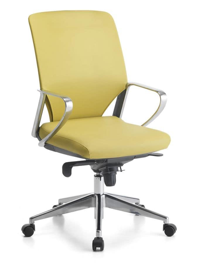 Sedia direzionale per ufficio base con rotelle idfdesign for Sedia ufficio rotelle