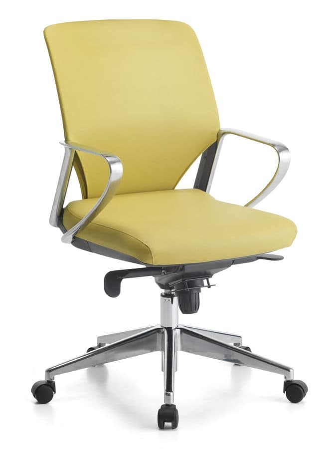 Karina Soft ALU 02, Sedia direzionale, braccioli in alluminio, per ufficio