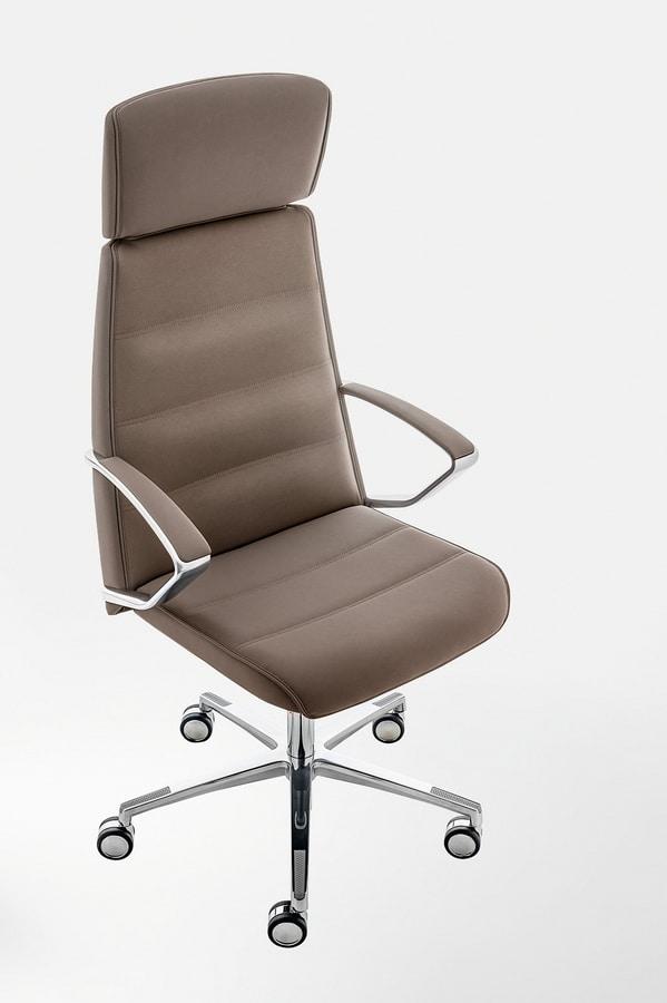 Klivia, Poltrona direzionale, con regolazioni incorporate nel sedile