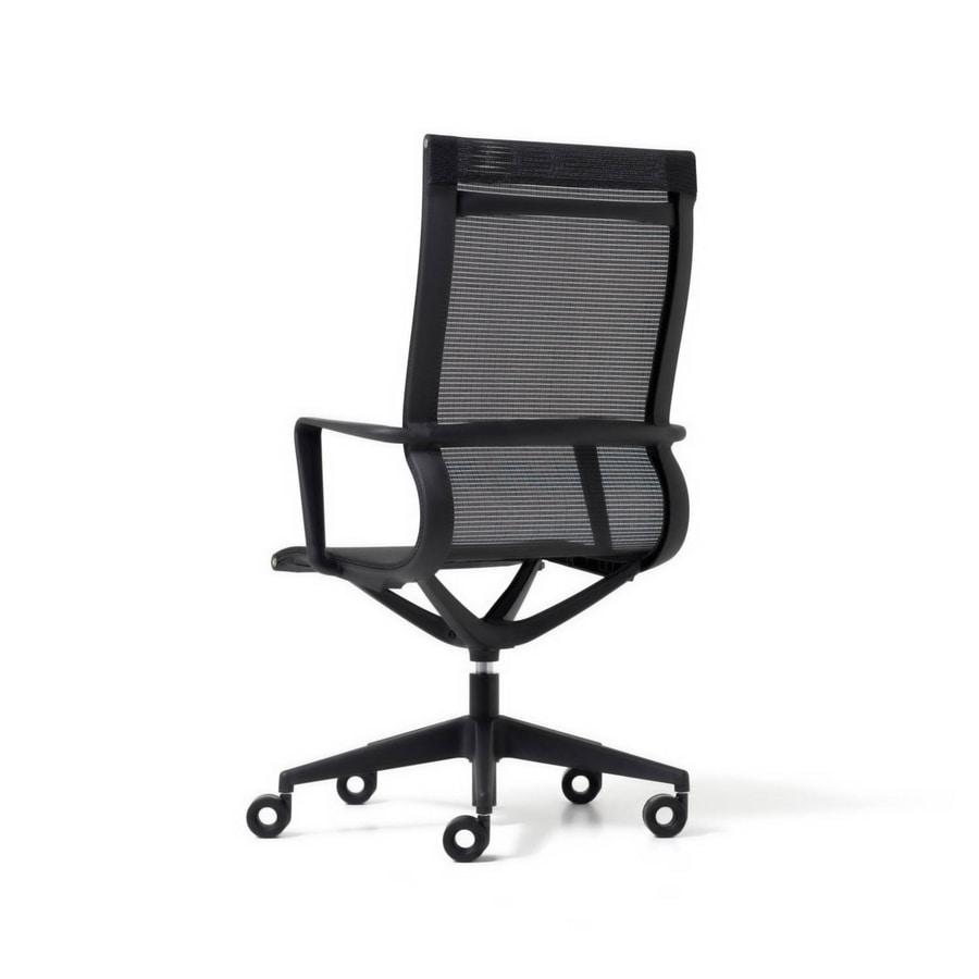Liberty 5 razze, Sedia direzionale per ufficio, in rete indeformabile ed ergonomica