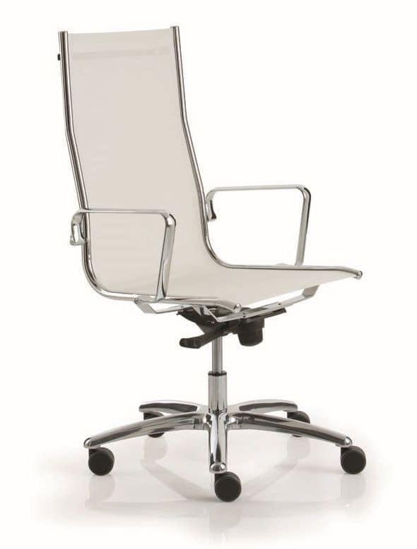 sedia per ufficio con schienale alto e curvato idfdesign