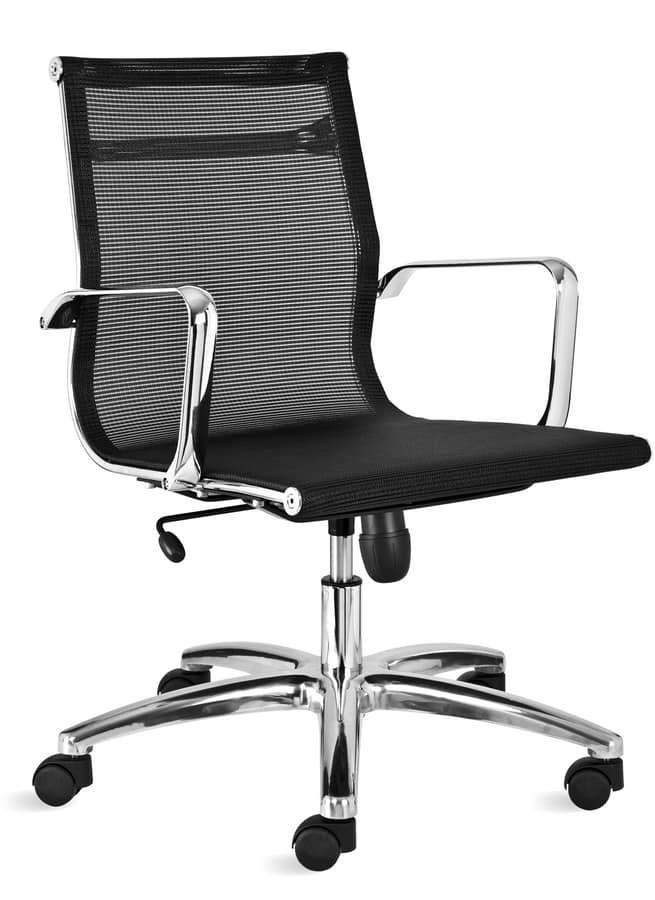 Sedia ufficio in rete, con schienale basso   IDFdesign