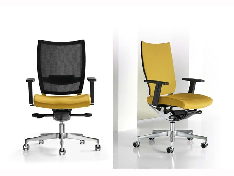 Sedie Ufficio Colorate : Sedia ufficio con braccioli e ruote schienale a rete idfdesign