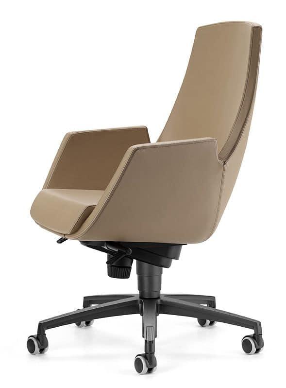 NUBIA 2918, Sedia su ruote, schienale alto reclinabile, per ufficio