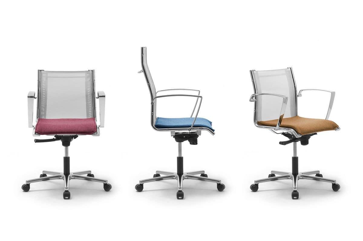 Seduta direzionale con schienale in rete idfdesign for Design ufficio srl