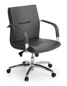 Ottawa 02, Sedia direzionale, base in alluminio lucido, per ufficio