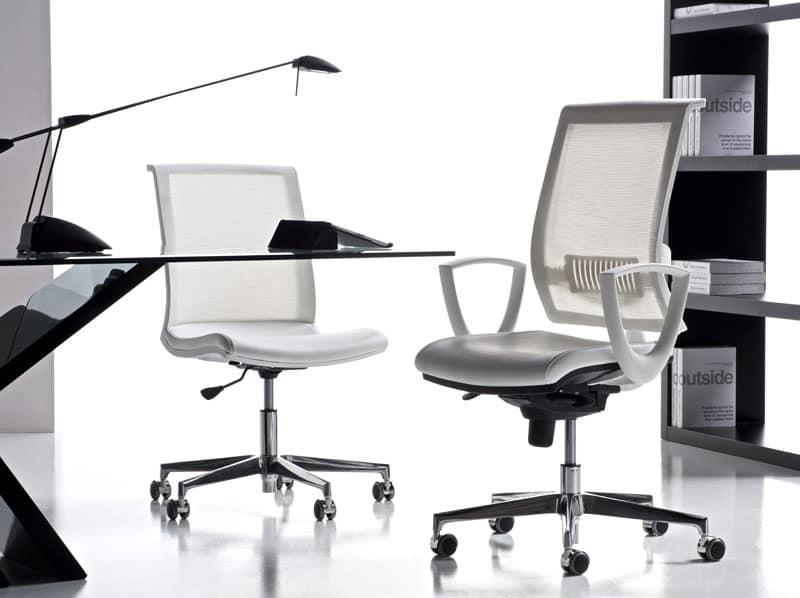 Sedia ufficio con braccioli e ruote schienale a rete idfdesign