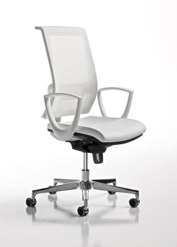 Sedia ufficio con braccioli e ruote, schienale a rete | IDFdesign