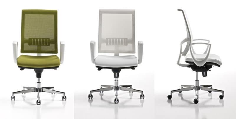 sedia ufficio con braccioli e ruote schienale a rete