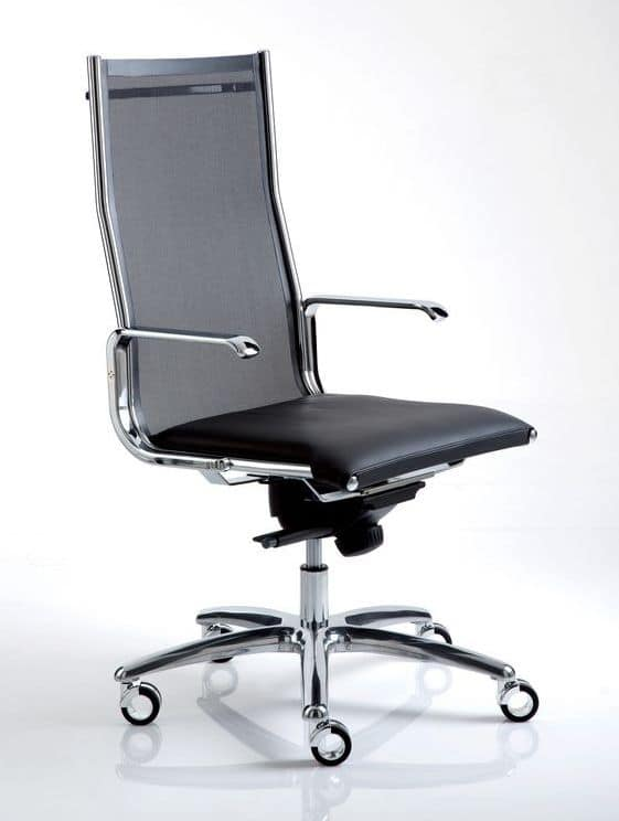 Sedia ufficio con ruote in pelle e acciaio idfdesign for Sedia ufficio ruote