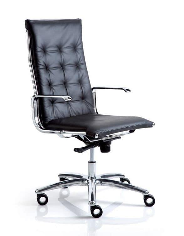Sedia per ufficio con braccioli cromati imbottita in for Sedie direzionali per ufficio