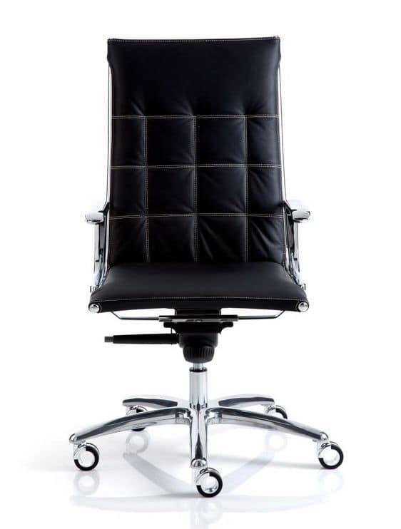 Sedia per ufficio con seduta e schienale in pelle for Sedie direzionali per ufficio