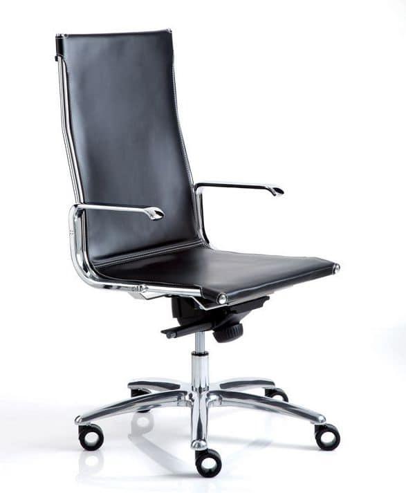 Sedia per ufficio in pelle e acciaio cromato idfdesign for Sedie direzionali per ufficio