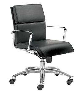 Teknik-C media, Sedia direzionale con cuscini in pelle, per presigiosi uffici