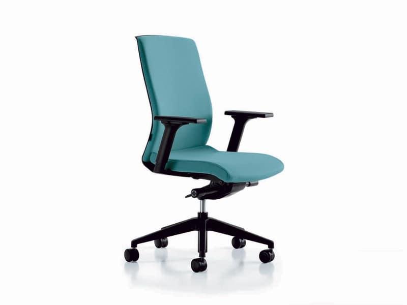 Sedia su ruote gommate base in nylon per uffici idfdesign