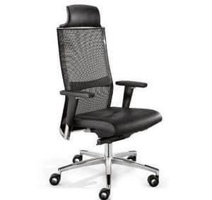 TITANIA 2863, Poltrona ufficio direzionale, schienale in maglia elasticizzato