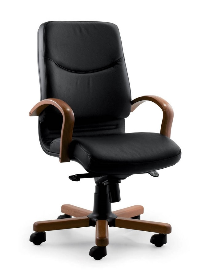 Sedia direzionale con struttura in legno imbottita in for Sedie ufficio