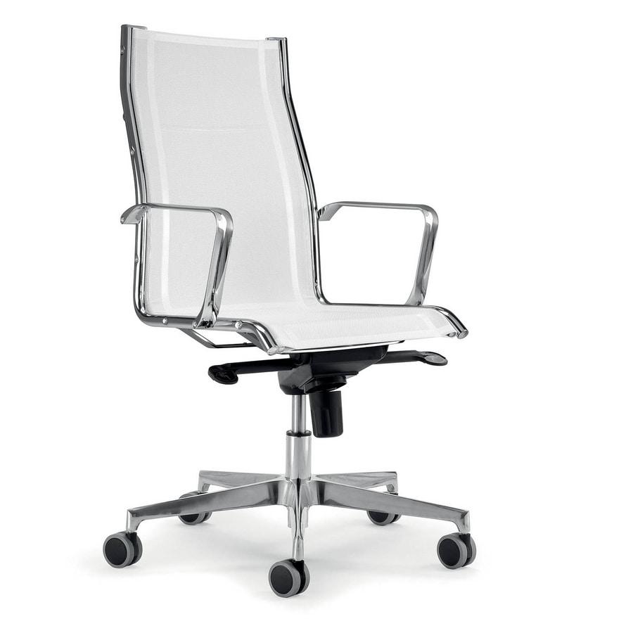 UF 545 / A, Poltrona operativa bianca ideale per uffici moderni