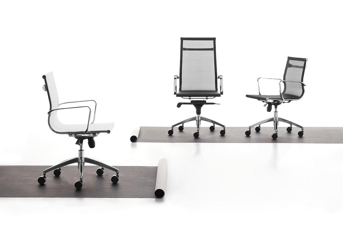 Sedia per ufficio con ruote rivestimento in rete for Sedie direzionali per ufficio