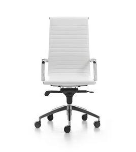 Wind Soft 01, Sedia direzionale per ufficio su ruote, braccioli in alluminio