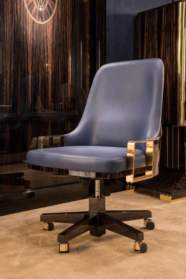 Poltrona classica con inserti di ottone per ambienti in - Sedie e poltrone ufficio ...