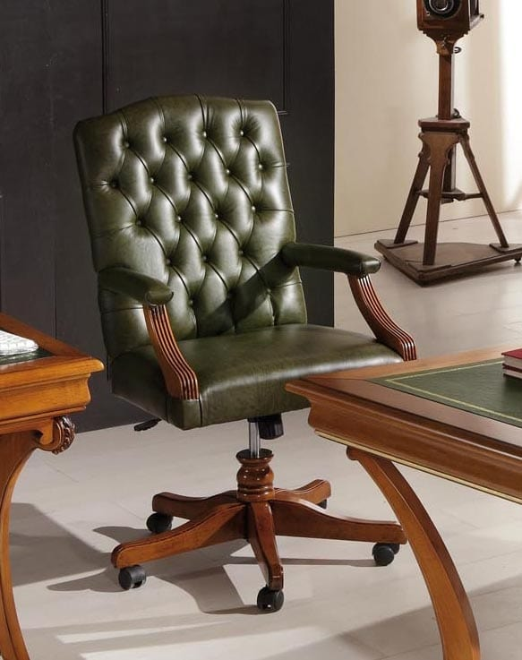 Sedie Da Ufficio Verde.Poltrona Da Ufficio Classica In Pelle Verde Idfdesign