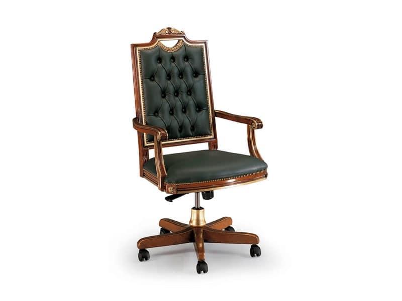Sedia in pelle di lusso per ufficio, schienale con capitonnè  IDFdesign