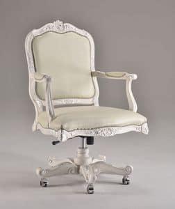 EVITA OFFICE poltrona girevole 8532A, Sedia ufficio presidenziale, classica di lusso, con ruote