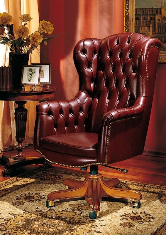 ... President, Poltrona per ufficio in stile classico, in pelle, con ruote