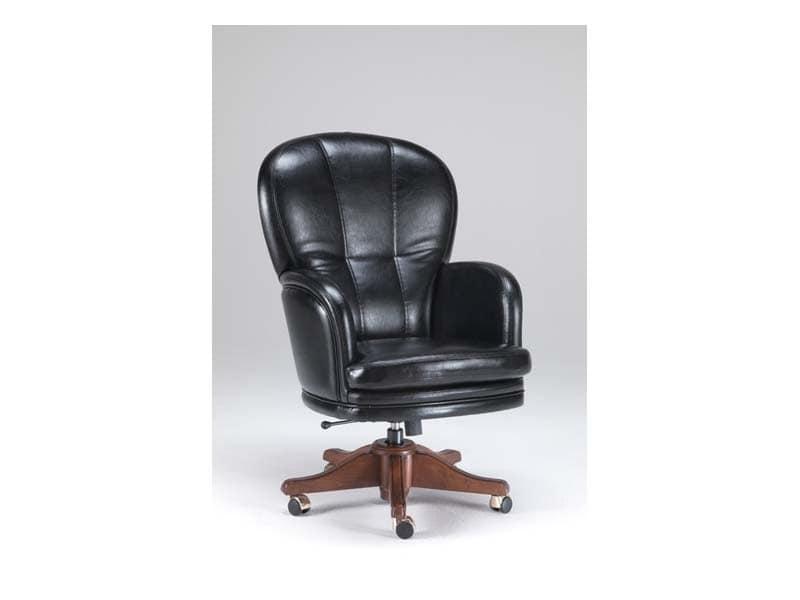 Sedia ufficio pregiata, rivestimento in pelle | IDFdesign